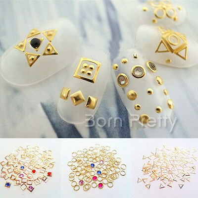 3D Nail Art Studs Mini Square Round Triangle Design Stickers Tips Decoration