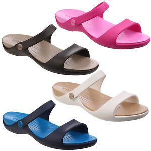 Crocs-Cleo-V-Sandalias-Mujer-Tira-en-Tobillo-Croslite-Foam-Plantilla-Chanclas