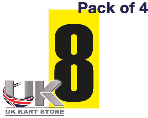 Black Number 8 on a Yellow Background x 4 MSA Legal UK KART STORE