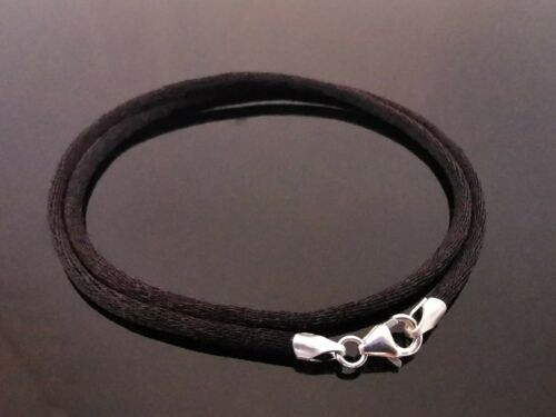 """2mm Black Silk Style Cord /& 925 Sterling Silver Necklace 14/"""" 16/"""" 18/"""" 20/"""" 22/"""" 24/"""""""