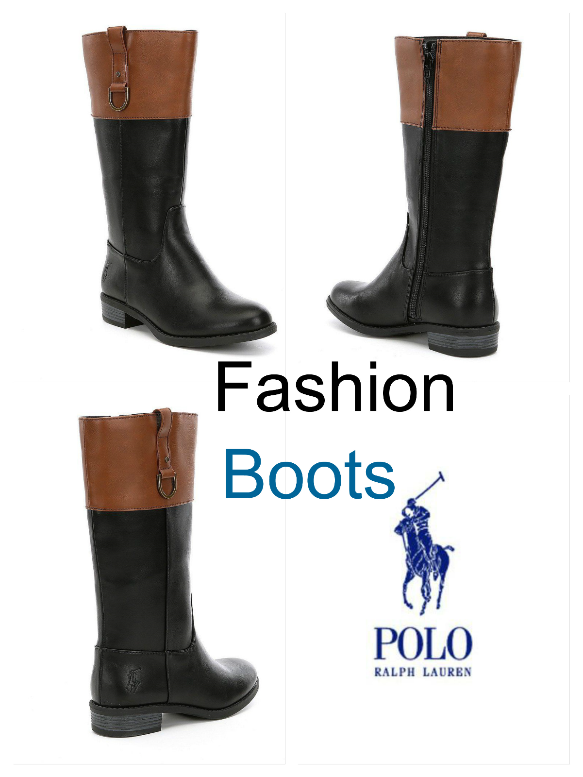 Polo Ralph Lauren Girls Fashion Leather Boots MESA Black Tan Boots