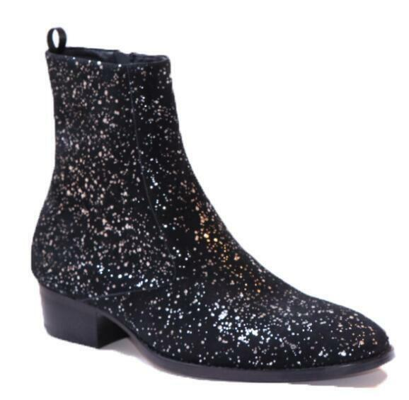 Men's Leather Sequins High Top Ankle Riding Boots Pointed Toe Chelsea Boot shoes