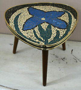 Cute German Mid Century Modern Plant Stand With Tile Mosaic Flower
