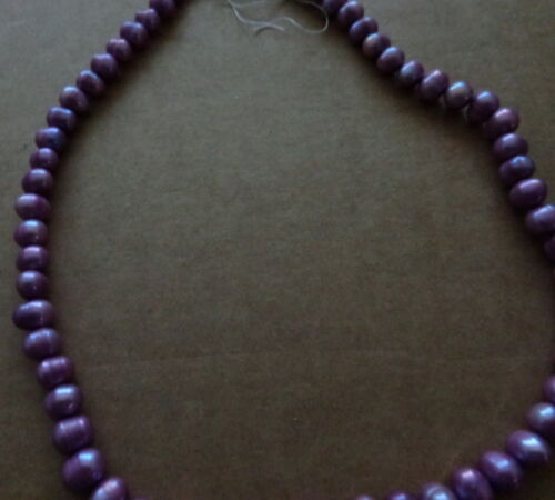 PURPLE  natural round   pearl 6.5mm white 16* strand