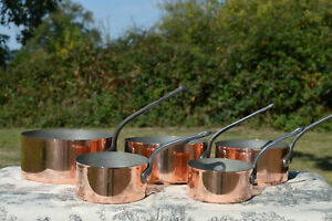 Vintage-1-7mm-Set-Five-Graduated-French-Copper-Pans-Quality-Copper-Pots-Tin-Line