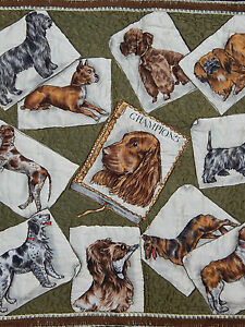 Antique French Beautiful Different Dogs Scene Printed Tapestry 70x69cm (A206)