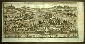 HonnêTeté Vue Panorama De La Ville De Lyon, Thomas Salmon Gravure Estampe Originale 1748
