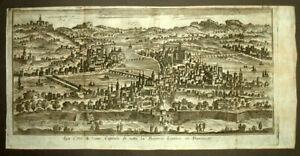 Efficace Vue Panorama De La Ville De Lyon, Thomas Salmon Gravure Estampe Originale 1748