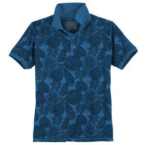 Redfield Übergrößen Poloshirt blau floraler Print 2XL-8XL 100% Baumwolle bequem