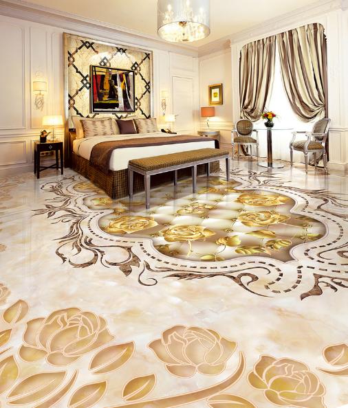 3D Golden Rose Pattern 9 Floor WallPaper Murals Wall Print Decal AJ WALLPAPER US