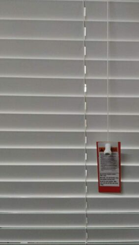 FAUX WOOD STRING VENETIAN BLINDS 50MM SLATS MALVERN GREY AND WHITE TRIMMABLE