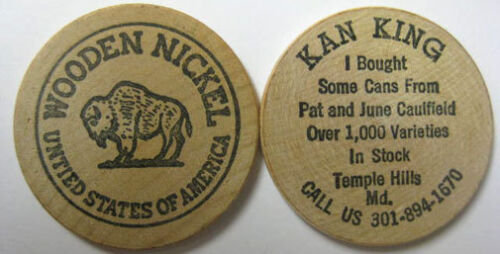 WOODEN NICKEL United States of America BUFFALO KAN KAVE sold Beer Cans MARYLAND