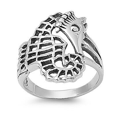 .925 Sterling Silver Seahorse Fashion Ring Size 3 4 5 6 7 8 9 10 NEW