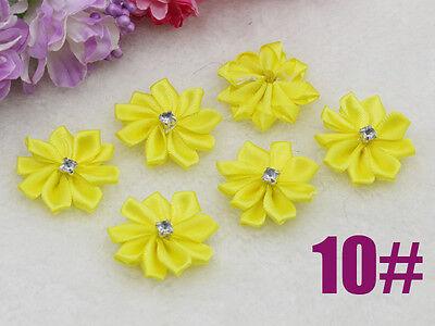 10pcs NEW Crafts Satin Ribbon flowers Crystal Appliques DIY K10 Fluorescence