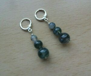 Genuine  MOSS  AGATE 'A' gemstone drop  EAR RINGS St Silver Gift wrapped