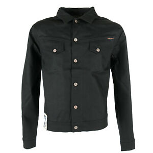 New-Nudie-Mens-Dry-Denim-Jeans-Jacket-Conny-Dry-Black-Coated-Slim-Fit