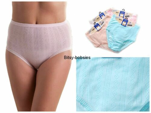 6 Pairs Ladies Pastel Tunnel Elastic 100/% Cotton Maxi Briefs Knickers 10-32