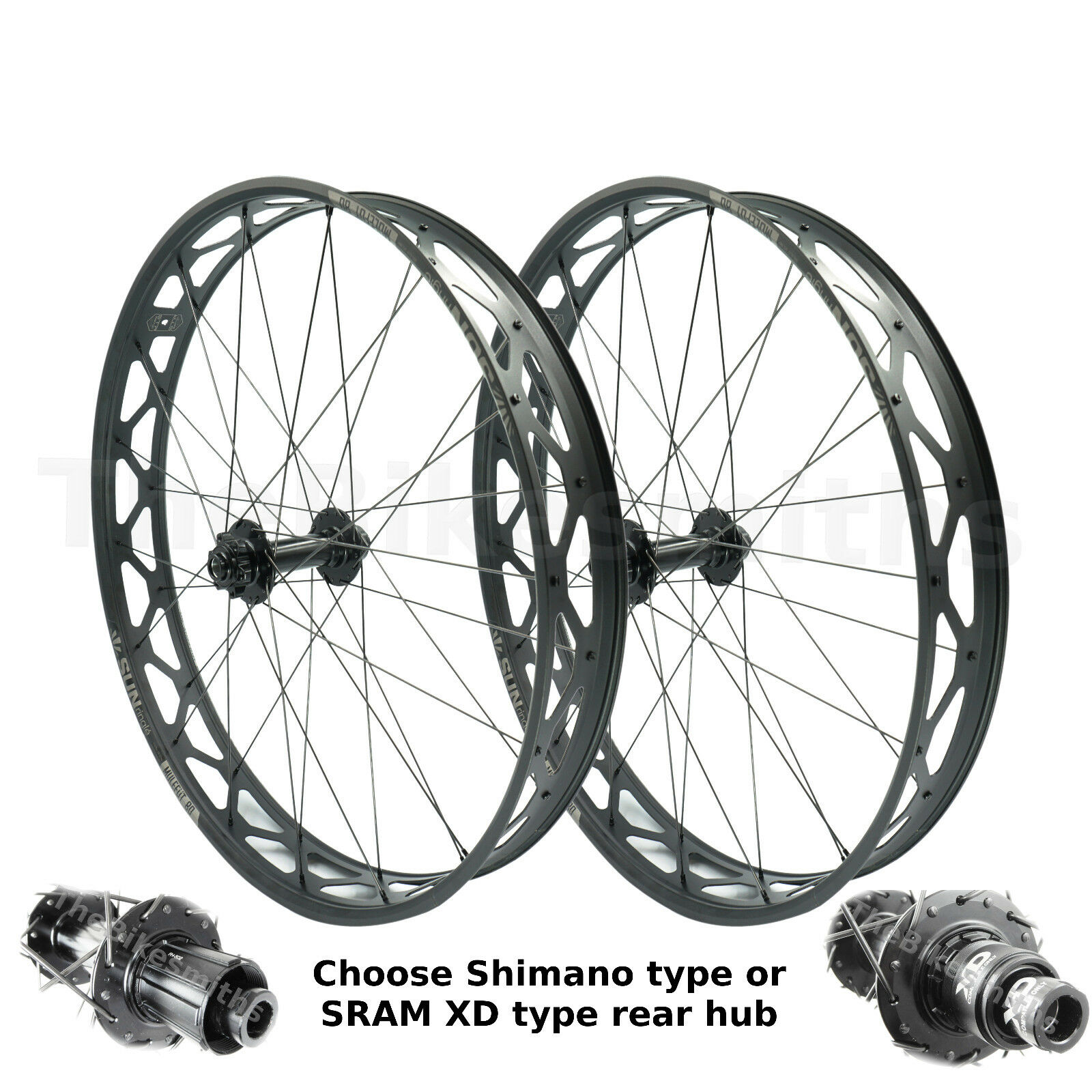 Sun Ringle MULEFUT Thru-Axle 15x150 Front & 12x197 Rear Fat Bike Wheelset