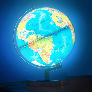 Illuminated World Globe for Kids with Stand 8inch?Rewritable Colorful Easy-Read