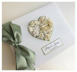 Personalised-Wedding-Guest-Book-LARGE-Vintage-Floral-Heart-Any-Colour