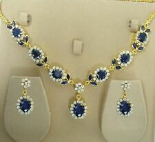 100% BLUE-SAPPHIRE CZ NECKLACE SET VERY LOW PRICE + FREE GIFT