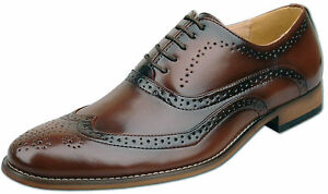 Mens-New-Brown-Leather-Lined-Lace-Up-Formal-Brogue-Shoes-Size-6-7-8-9-10-11-12