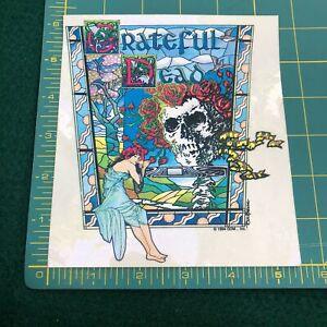 NEW-Vintage-Grateful-Dead-1994-Skeleton-Roses-Stain-Glass-Window-Sticker-Decal
