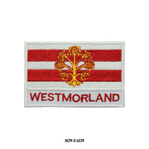 WESTMORLAND-County-Flag-With-Name-Embroidered-Patch-Iron-on-Sew-On-Badge
