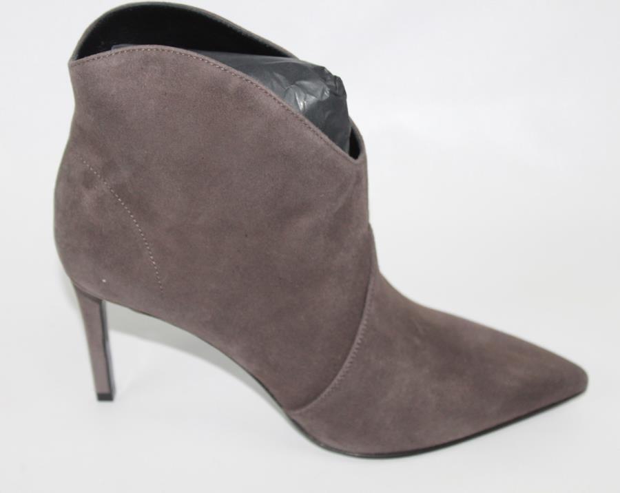 AUTH YSL Saint Laurent Suede Road Grey Heel Boot 35.5