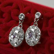 18k white gold gf simulated diamond lady wedding bride stud earrings