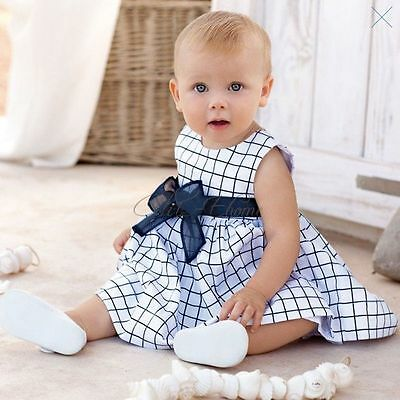 Baby Toddler Girl Kid Bowknot Cotton Top Plaid Dress Outfit Clothing SZ  0 1 2 3