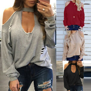 Fashion-Women-Cold-Off-Shoulder-Ripped-Casual-Loose-Tops-Shirt-Blouse-Plus-Size