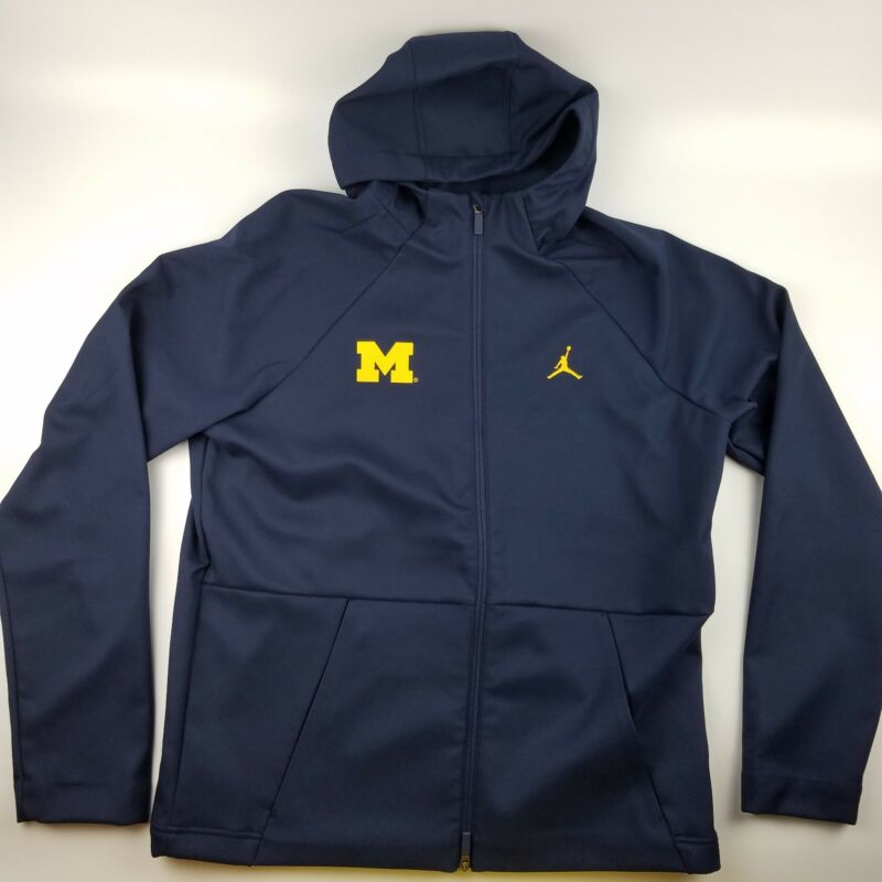 Michigan Wolverines Jordan Pro Therma Shield Full Zip Jacket Hooded Blue $180
