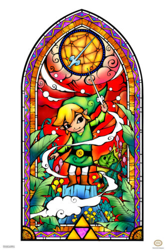 Legend Of Zelda Stained Glass Red Video Gaming Poster 12x18 inch