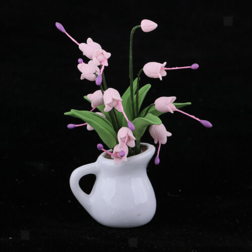 1//12 Miniature Model Dollhouse Mini Plant Flower Campanula Model Toy Pink