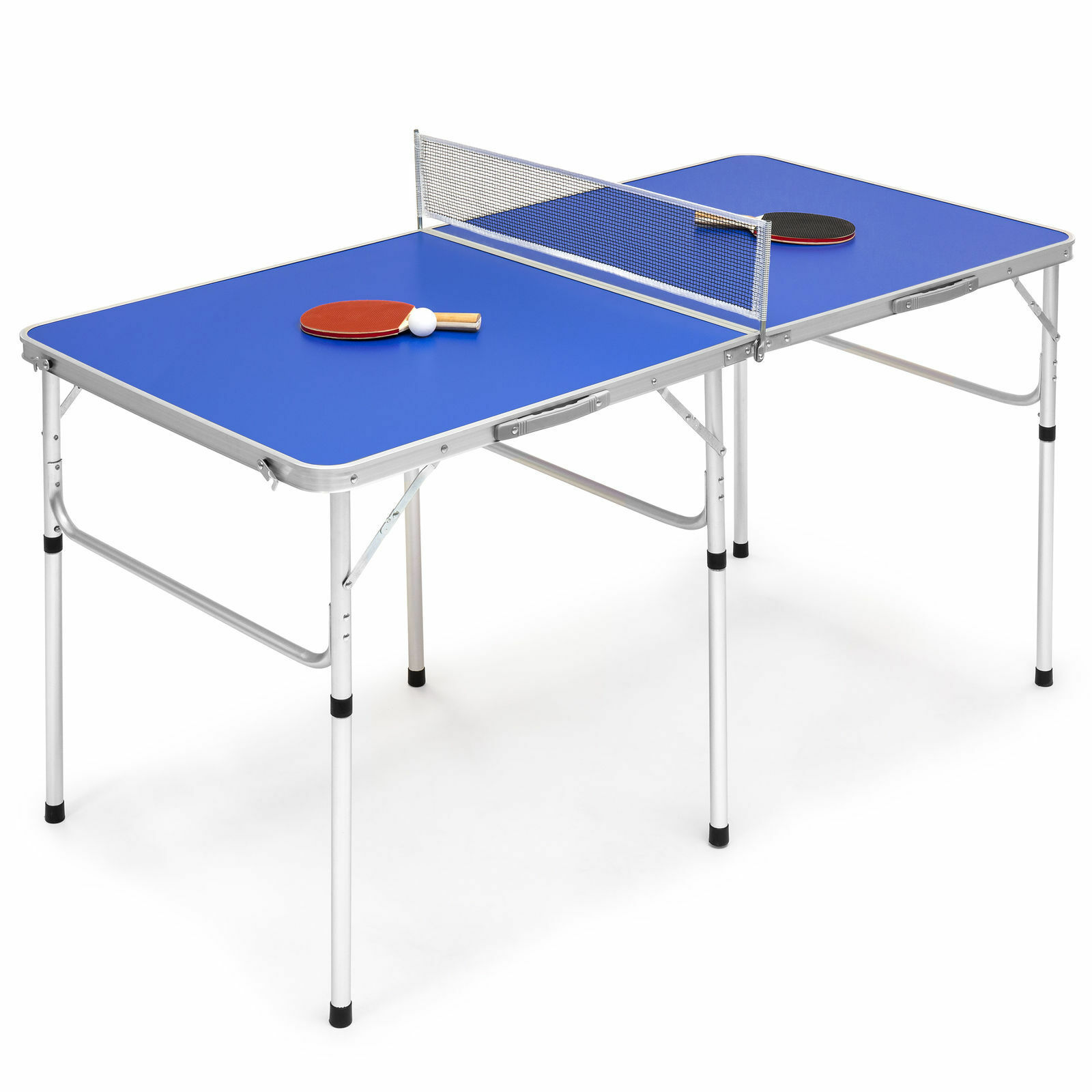 bluee 58  Portable Folding Ping Pong Table Game Ball Paddle Net Set In Outdoor