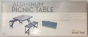Picnic-Time-Portable-Aluminum-FOLDING-PICNIC-TABLE-Seats-4-Gray-801-00-133-NEW