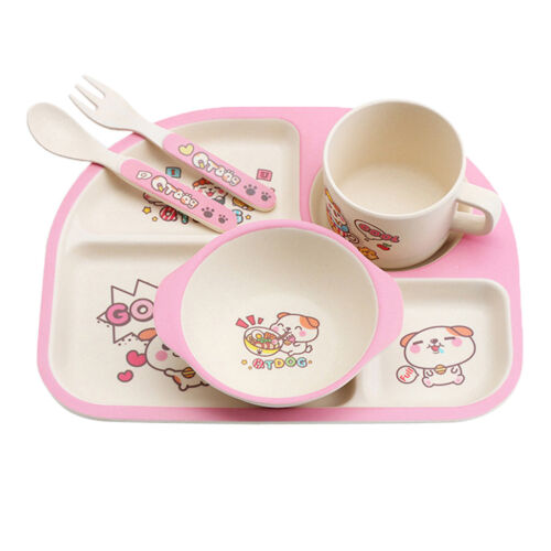 Bamboo Fibre 5-piece Dinnerware Set Baby Divided Plate Bowl and Flatware Set