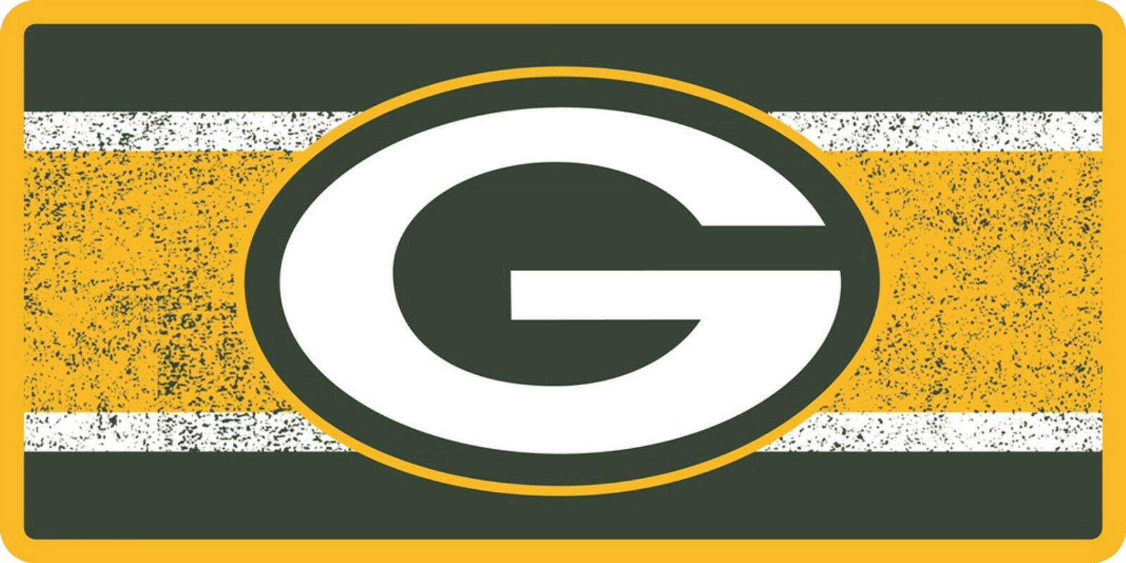 Green Bay Packers Printed MEGA Style Deluxe Laser Acrylic License Plate Tag Football