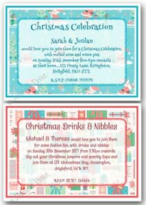 Details About Personalised Christmas Party Drinks Celebration New Years Eve Invitations X10