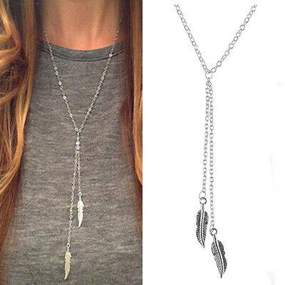 Women Boho Jewelry Choker Chunky Statement  Leaves Pendant Chain Necklace Silver