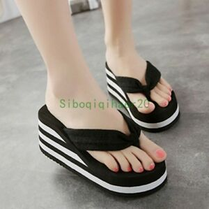 Womens-Casual-Platform-Wedge-Heel-Flip-Flops-Slip-On-Slippers-Summer-Beach-Shoes