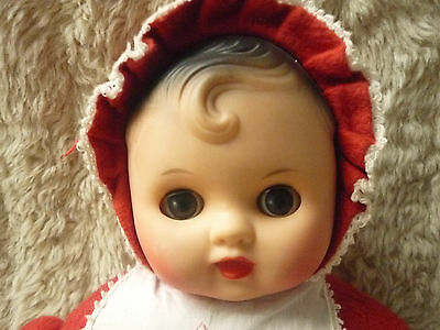 VINTAGE BABY DOLL PRAM DOLL RED ROMPER SUIT SOFT BODY PLASTIC FACE 1960s 1970s