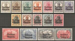 DR-Bayern-Germany-Reich-Rare-WW1-Stamp-1919-Bayern-Germany-Overprint-Classic-Set