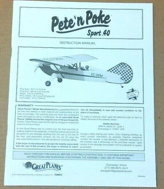 Great Planes Pete 'n Poke Sport 40 Kit  40 GPMA0493