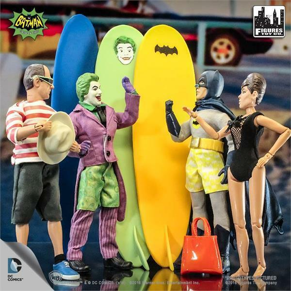 BATMAN 1966 TV SURFING SERIES  FULL SET OF 4; 8 INCH ACTION FIGURES  POLYBAG