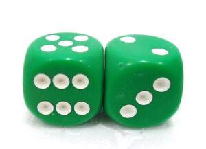 Coppia-di-dadi-034-2-verde-opaco-6-facce-034-15-mm-pallini-bianchi