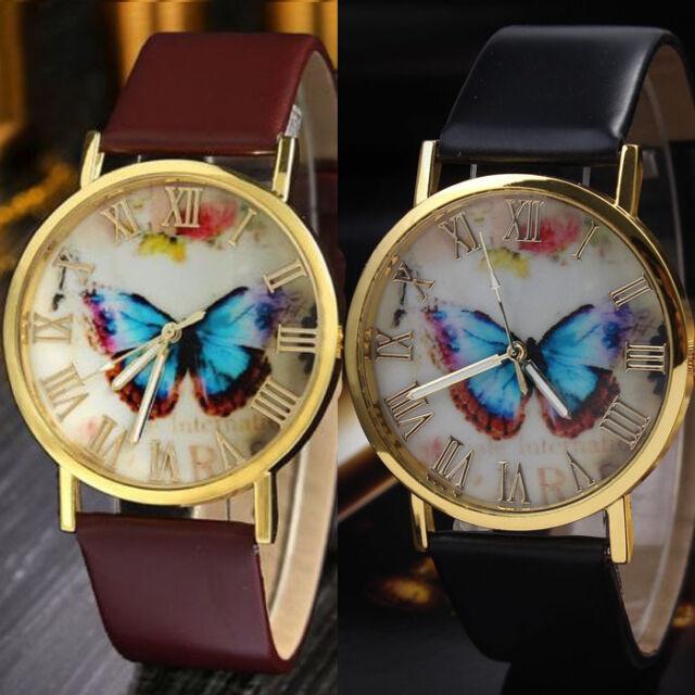 HOT Womens Fashion Butterfly Style Leather Band Analog Quartz Wrist Watch