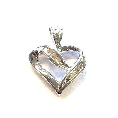 14 Karat White gold Simple Round Baguette Diamond Open Heart Pendant P324