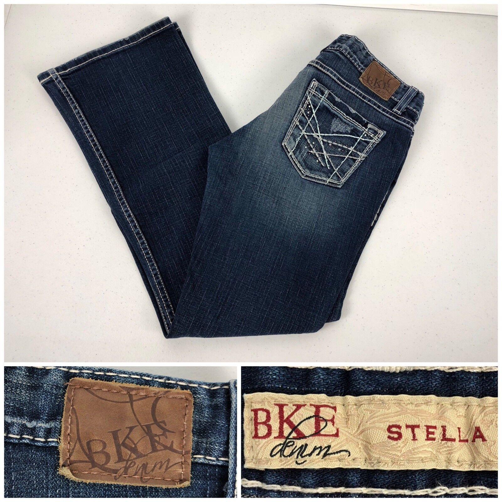 BKE Stella Womens 28 X 29 1 2 Jeans Denim Cotton Spandex Distressed